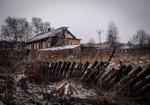 Landscape, Village, Winter, Old House, Fence