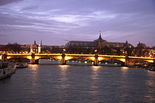 Paris, Alexandra Bridge, Bridge, Palace, Yellow