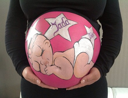 Bellypaint, Belly Painting, Pregnant, Baby, Girl, Pink