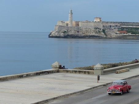 Cuba, Car, Havana, View, Lighthouse, Retro Car, Road