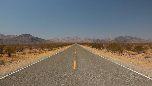 Desert, Road, Straight, Travel, Usa, Old Spanish Trail