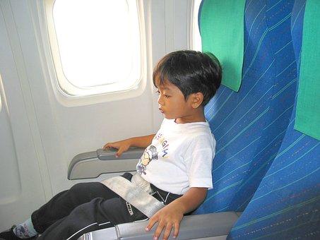Child, Boy, Airplane, Seat, Seat Belt, Flight, Joy