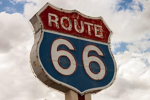 Route 66, Sign, Highway, Road, Drive, Trip, Travel