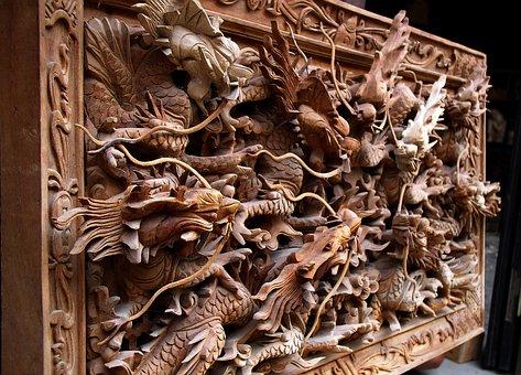 Dragon, Wooden, Hanging, Decoration, Design, Textured
