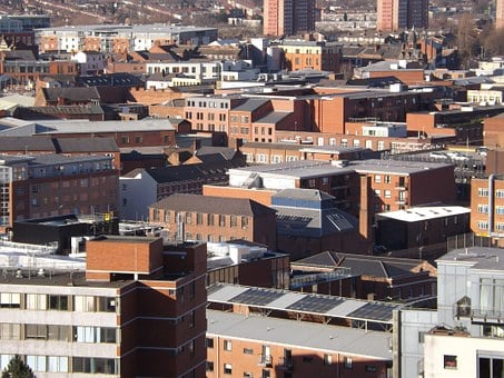 Birmingham, Houses, Roofs, City, Rooftop, Architecture