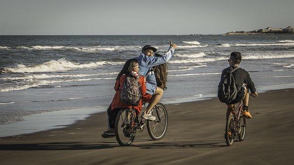 Young, Bicycles, Beach, Mar Del Plata, Sea