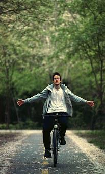 Bicycle, No Hands, Ride, Bike, Young, Summer, Happy