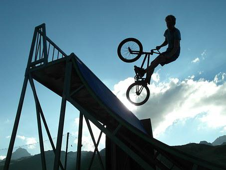 Bmx, Shadow, Bicycle, Jump, Freestyle, Sky, Silhouette