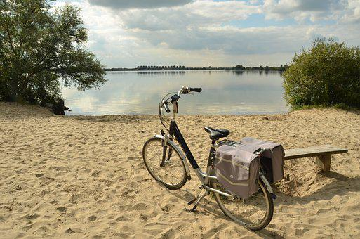 Bicycle, Bicycle Tour, Bank, Body Kits, Sand, Beach
