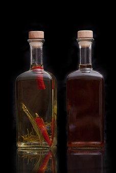 Vinegar, Oil, Food, Bottles, Spicy, Glass Bottles