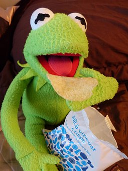 Kermit, Frog, Eat, Chips, Delicious, Potato Chips, Food