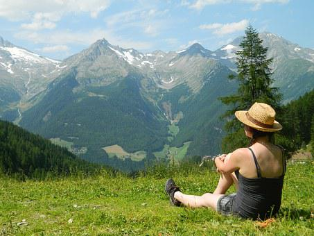 Tourism, Breather, Mountains, Hat, Girl, Views, Nature