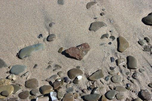 Sand, Rocks, Pebbles, Heart, Shaped, Beach, Nature