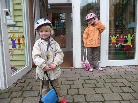 Kindergarten, Children, Nursery Bag, Bicycle Helmets