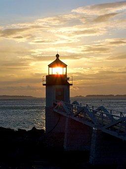 Sunset, Hope, Walkway, Maine, Lighthouse, Sky, Skyline