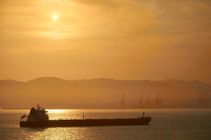 Sunset, Tanker, Oil Tanker, Sea, Abendstimmung