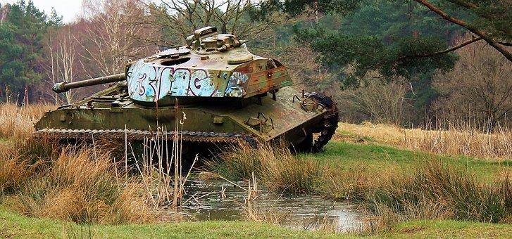 Panzer, Graffiti, Old Tank, Military Training Area
