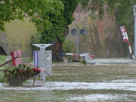 High Water, Road, Bank, Park Bench, Locked, Damage