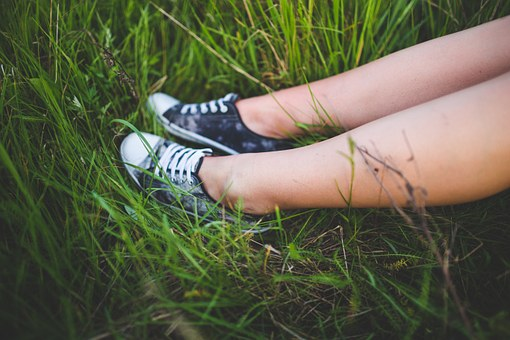 Girl, Sneakers, Youth, Grass, Legs, Feets, Resting