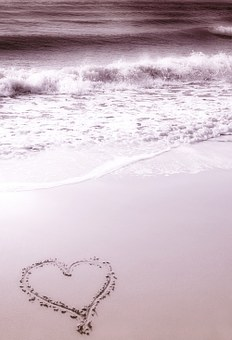 Background, Beach, Heart, Hearts, Sea, Waves, Water