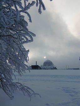 Wasserkuppe, Radar Dome, Winter Light, Winter Sun, Snow