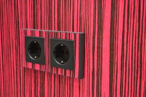 Socket, Striped, Wood Grain, Pink