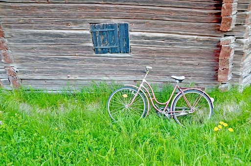 Cycle, Barn, Summer, Country, Sunlight, Grass