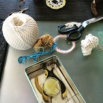 Yarn, Cotton, Scissors, Craft Tools, Tools, Craft