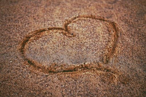 Heart, Sand, Draw, Beach, Love, Valentines
