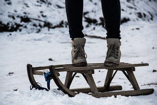 Sled, Playful, Youth, Youthful, Young, Woman, Winter