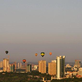 Air Balloon, Aerostat, City, Sky, Buildings