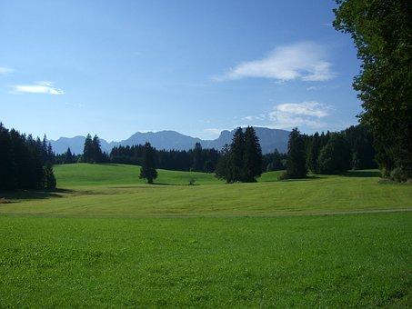 Allgäu, Mountain Panorama, Meadow, Forest, Green, Sky
