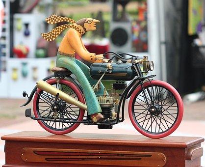 Sculpture, Bicycle, Motorcycle, Art, Vintage, Motor