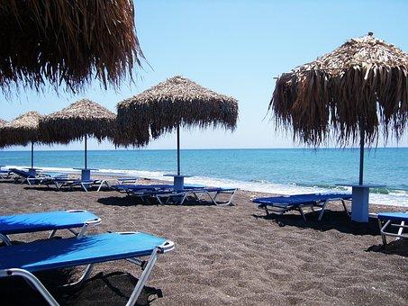Beach, Deck Chair, Sunbathing, Sea, Sand, Black Sand