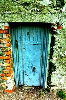 Door, Blue, Entrance, Old, Scrap, Wall, Brick, Wood