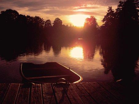 Boot, Evening Sun, Web, Pier, Sunset, Dusk, Sunlight