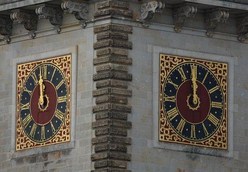 Hamburg, Town Hall, Clock Tower, High Noon, Building