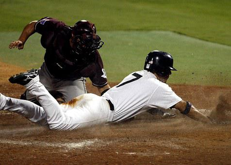 Baseball, Catcher, Out At Plate, Close Play, Dirt