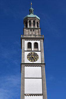 Town Hall Tower, Augsburg, Tower, Clock, Clock Tower