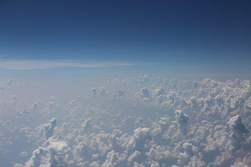 Clouds, Up High, Airplane, Sky, Horizon, Space, Future