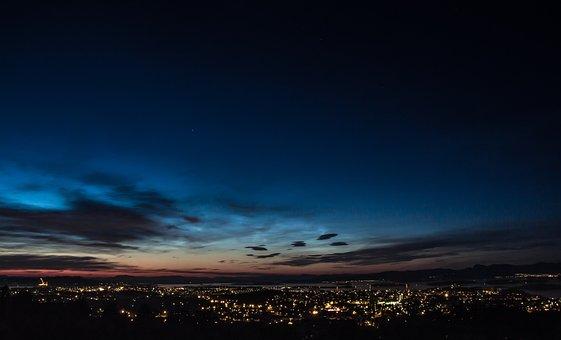 Night, Mountain, Views, Stavanger, Sky, Clouds, Blue