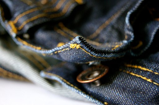 Fabric, Sew, Pants, Clothing, Button, Seam, Jeans, Blue
