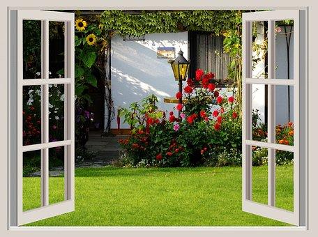 Garden, Flowers, Home, Cottage, Sunflower, Dahlias