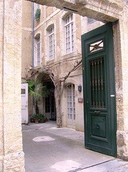 Courtyard, Court-yard, Entrance, Door, Enter, Home