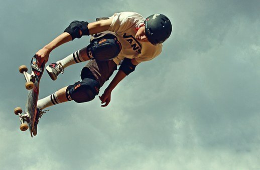 Skateboard, Helm, Protectors, Protection, Jump, Tricks