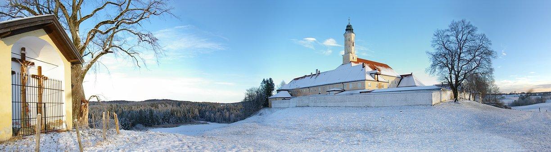 Monastery, Winter, Snow, Sky, Sunny, Nature, Blue, Cold