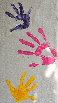 Paint, Color, Finger, Palm, Hands, Children, Print