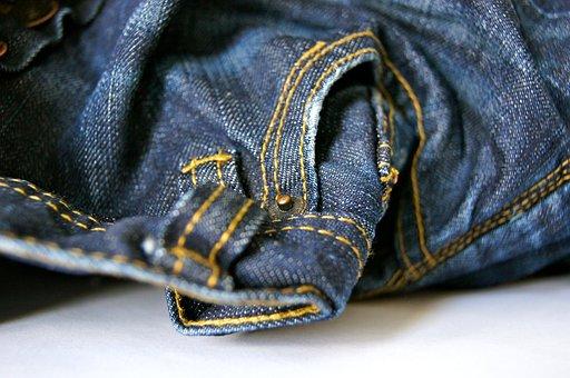 Fabric, Sew, Pants, Clothing, Seam, Jeans, Blue, Craft