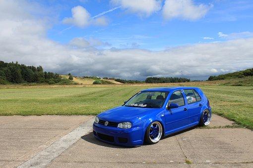 Car, Vw, Golf, Blue, Parking, Blue Golf