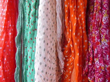 Scarves, Polka Dot, Floral, Colorful, Red, White